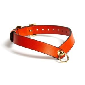 Оранжевая кожа V Чокер с круглым кольцом O' кольцо Domestique на Brigade Mondaine