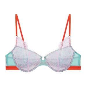 Soutien-gorge en tissu bleu clair, dentelle rose pâle et bordures oranges Sabina par Dora larsen chez brigade Mondaine
