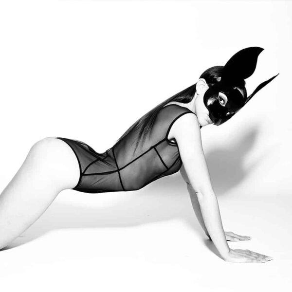 Black rabbit mask in vegetable leather by ELF ZHOU at Brigade Mondaine