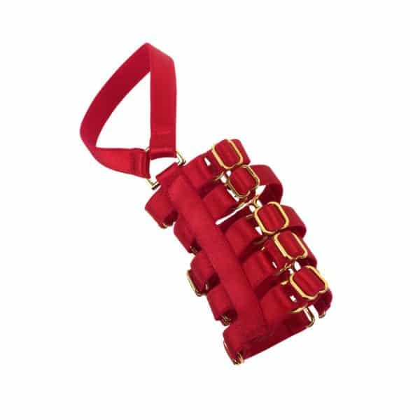 Red elastic cuff Dahlia by ELF ZHOU LONDON at Brigade Mondaine