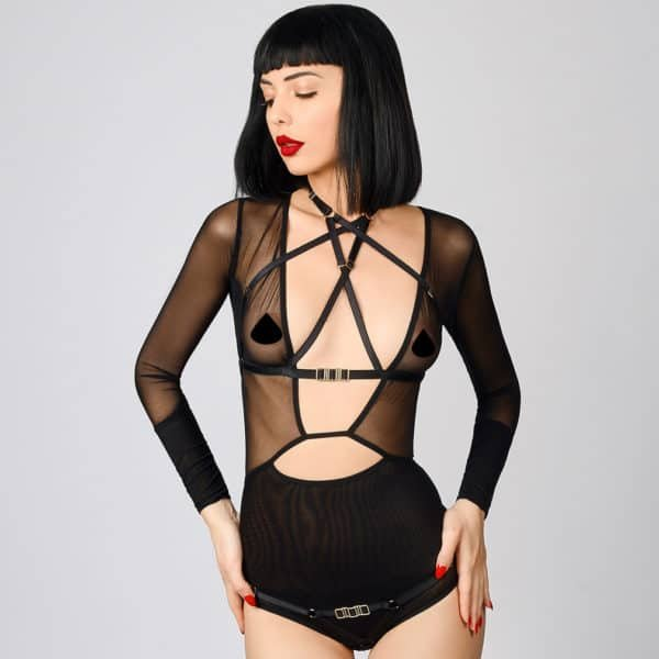 Open bust harness in black and gold geometric elastic by ELF ZHOU LONDON at Brigade Mondaine
