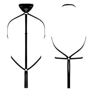 Arnés corporal geométrico negro elástico en tanga de ELF ZHOU LONDON en Brigade Mondaine
