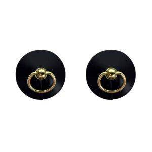 Nippies cuir avec anneau, couleur noir par ELF ZHOU LONDON chez Brigade Mondaine