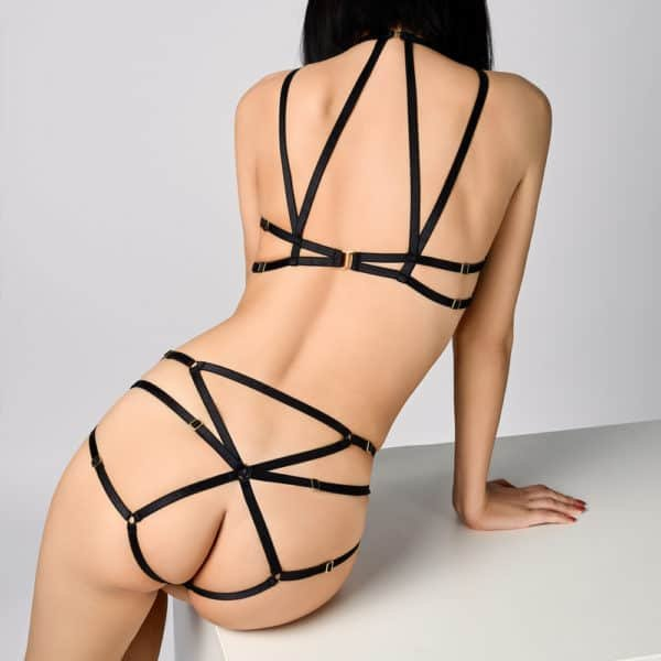 Microfiber multi strap briefs at l'front and elastic at l'back Liquorice by ELF ZHOU LONDON at Brigade Mondaine