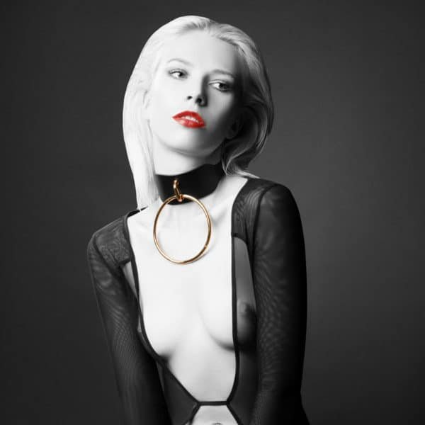 Large choker with large black O Collar ring by E.L.F ZHOU LONDON at Brigade Mondaine