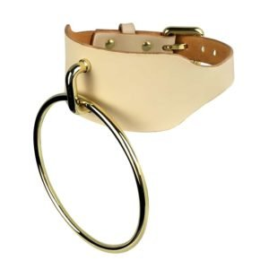 Large choker with large beige O Collar ring by E.L.F ZHOU LONDON at Brigade Mondaine