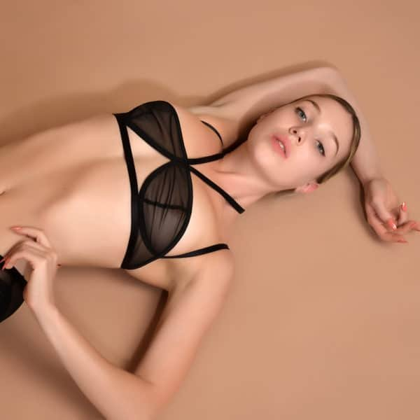 Obsidian transparent mesh black lingerie set with suspender belt and halter top ELF ZHOU at Brigade Mondaine