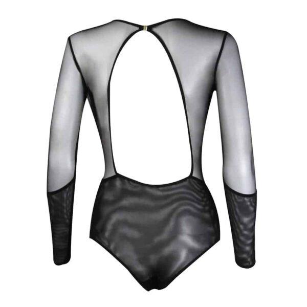 Черный ажурный костюм с более прозрачным бюстом, погружающимся вырезом декольте и блузкой по Э.Л.Ф. Чжоу при 1ТП5Т.
