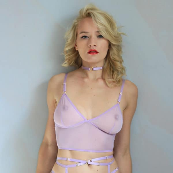 Fine choker necklace in lavender purple elastic with gold central ring FLASH YOU AND ME at Brigade Mondaine