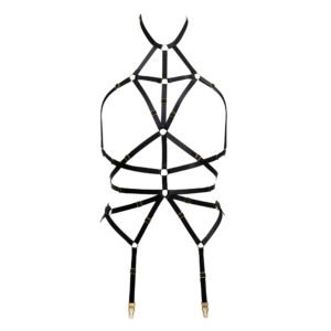 Black bondage harness with adjustable elastics and gold finish rings by Flash You And Me at Brigade Mondaine