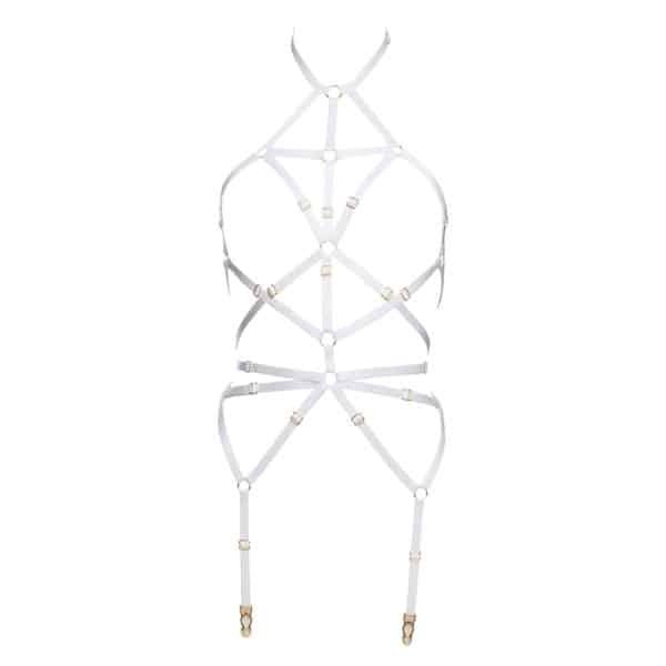 White bondage harness with adjustable elastics and gold finish rings by Flash You And Me at Brigade Mondaine
