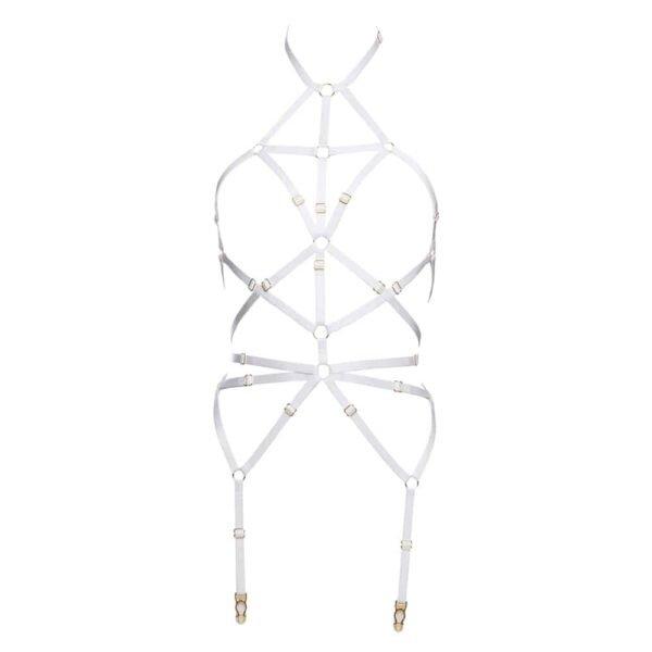 Harnais bondage blanc en élastiques ajustables et anneaux finitions dorées par Flash You And Me chez Brigade Mondaine