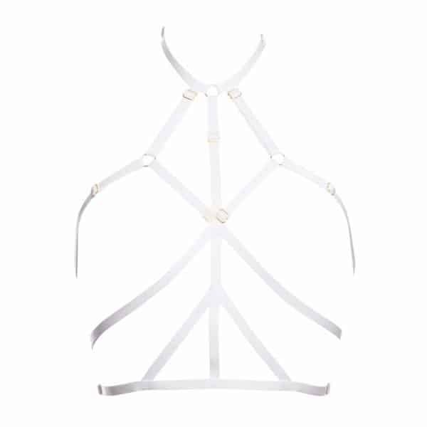 Bondage strapless sling in white Ruby elastics by Flash You and Me at Brigade Mondaine