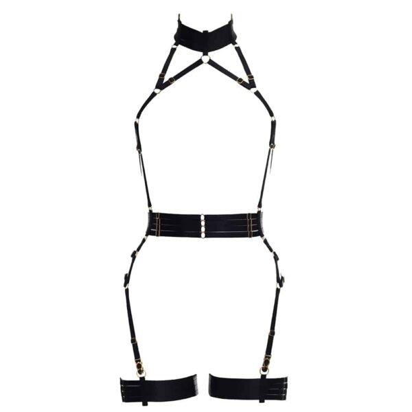 Плей-костюм Аливии черный эластичный. Съемные подвязки. Вспышка тебя и меня на Brigade Mondaine.