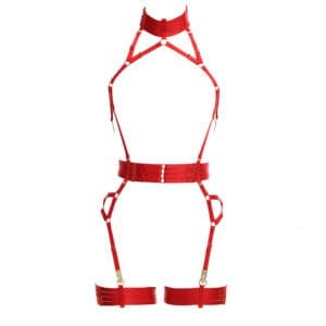 Red Alivia Playsuit in elastic. Removable garters. Flash You And Me on Brigade Mondaine