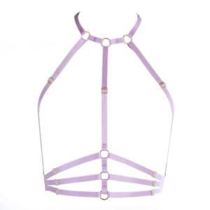 Bust harness in lavender purple elastic at neck and halter FLASH YOU AND ME at Brigade Mondaine