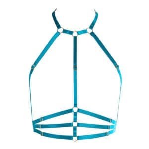Bust harness in turquoise blue elastic at neck and halter FLASH YOU AND ME at Brigade Mondaine