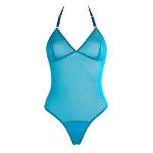 Body string et dos nu en mesh transparent bleu turquoise FLASH YOU AND ME chez Brigade Mondaine