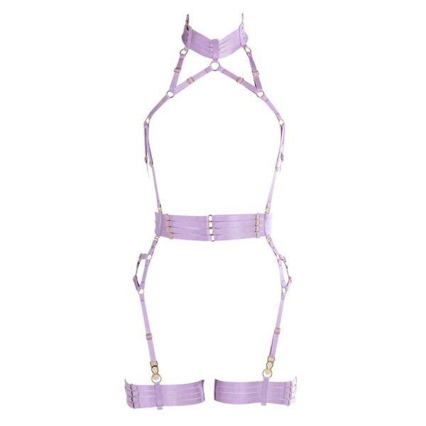 Playsuit en élastique violet lavande avec ceinture et porte-jarretelles ras le cou FLASH YOU AND ME chez Brigade Mondaine