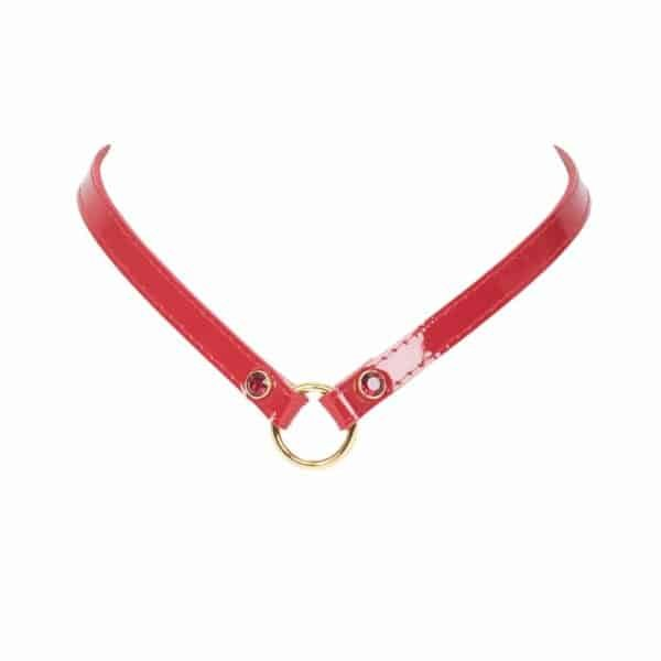 Red leather necklace V-neck with ring by Fraulein Kink at Brigade Mondaine