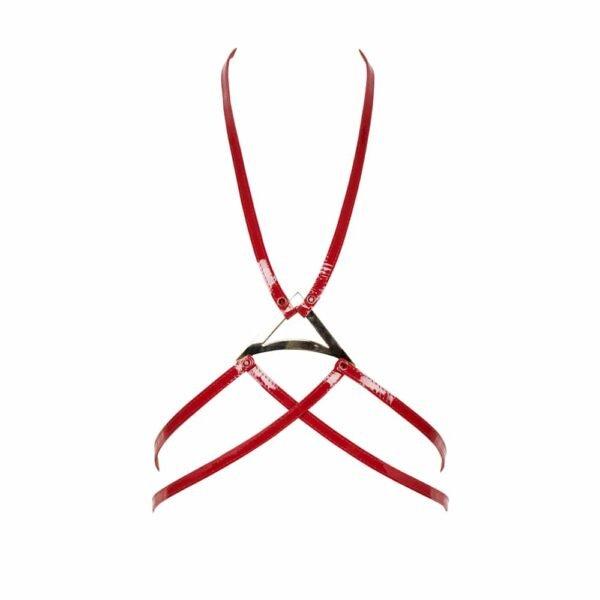 Arnés de charol rojo con detalle de triángulo dorado en el medio del torso por Fraulein Kink en Brigade Mondaine