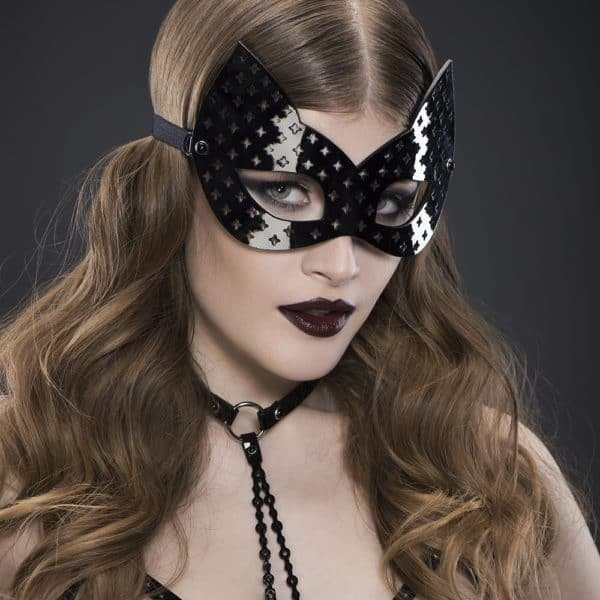 Black patent leather cat mask perforated cross Original Sin Nero by FRAULEIN KINK at Brigade Mondaine