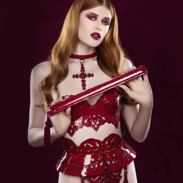 Ruler Paddle for spanking with red pom-pom FRAULEIN KINK at Brigade Mondaine