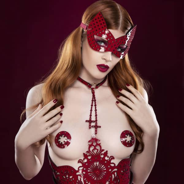 Leather red eye mask engraved with crosses and cat ears FRAULEIN KINK at Brigade Mondaine