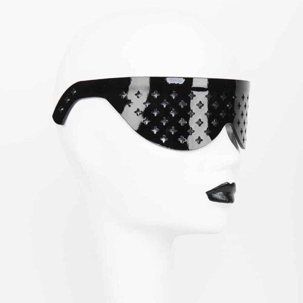 Черный лакированные кожаные очки крест перфорированные оригинал Грех Нерона FRAULEIN KINK на Brigade Mondaine