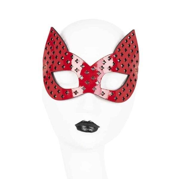 Кожаная красная маска для глаз с выгравированными крестами и кошачьими ушами FRAULEIN KINK на Brigade Mondaine