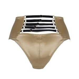 Daria gold satin high waist briefs with black elastics at l'back by Gonzales Affaires at Brigade Mondaine