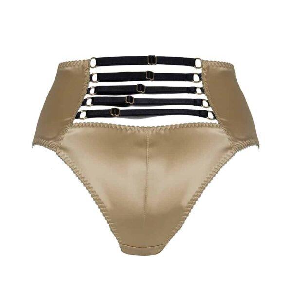 Calzoncillos de cintura alta de satén dorado Daria con elásticos negros en l' espalda de Gonzales Affaires en Brigade Mondaine