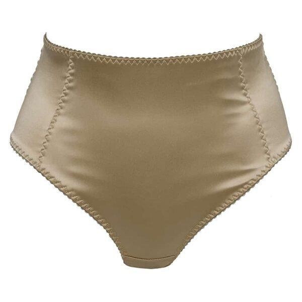 Daria gold satin high waist briefs with black elastics at l'back by Gonzales Affaires at Brigade Mondaine