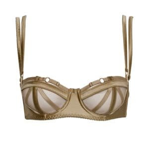 Domenica golden satin bra with geometric elastics at the bust and black satin elastics by Gonzales Affaires at Brigade Mondaine