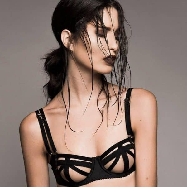 Strapless bra Domenica black with geometric elastics cleverly hiding the nipples by Gonzales Affaire