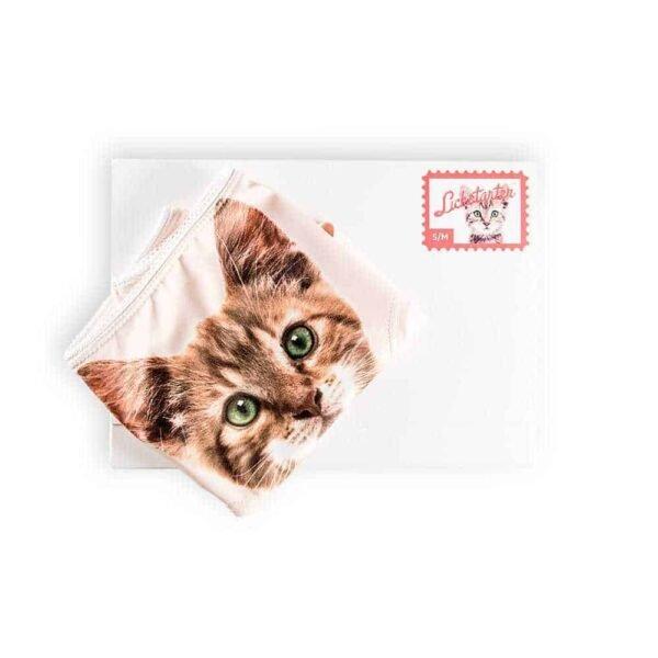 Culotte Give it to me chaton tigré aux yeux verts par Lickstarter chez Brigade Mondaine