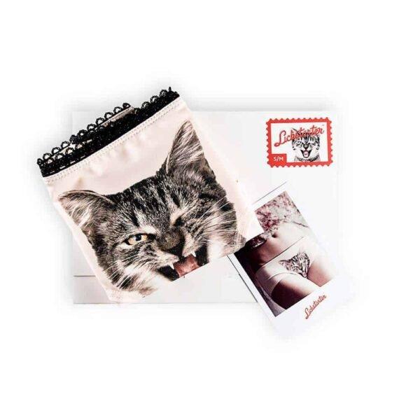 Culotte Looking for some Love chat tigré clin d'œil par Lickstarter chez Brigade Mondaine