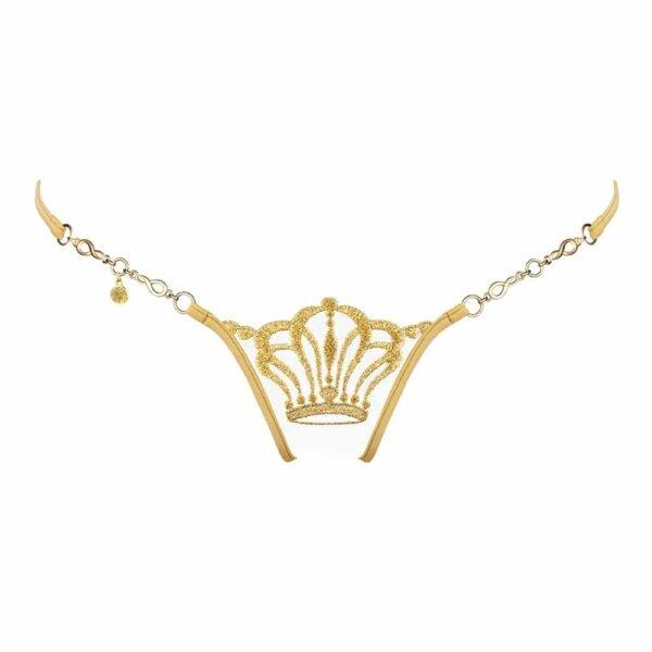 G-образная струна с золотым кружевом и цепочкой с узором в виде короны от Lucky Cheeks на 1ТП5Т.