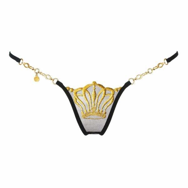 Tanga de encaje negro con corona de oro de Lucky Cheeks en Brigade Mondaine