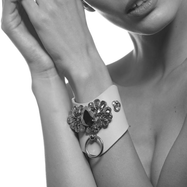 Leather cuff bracelet with metal ring and crystals LUDOVICA MARTIRE