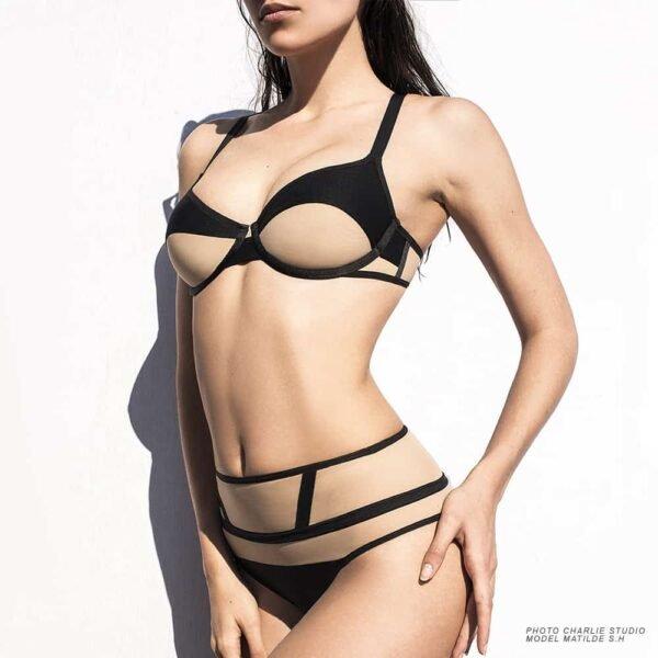 Comfortable black nude bra Blackie by Opaak at Brigade Mondaine