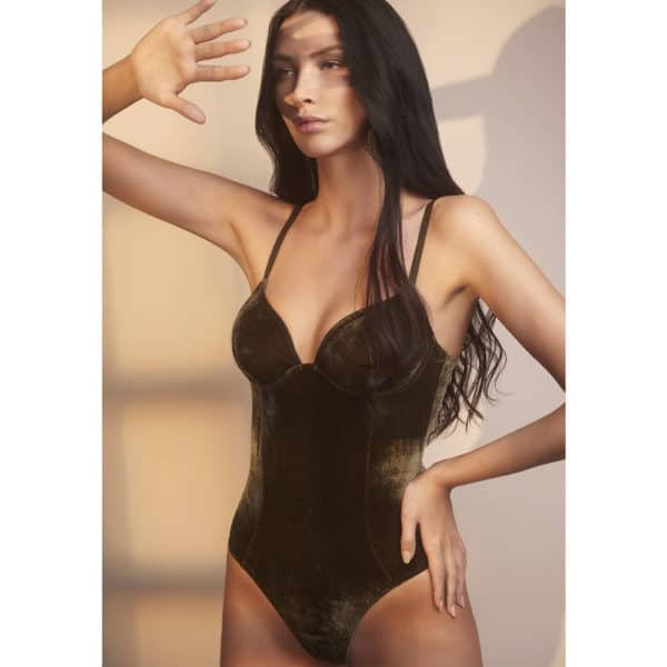 Mabel Khaki velvet bodystocking by OW INTIMATES