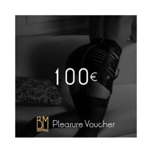 Visuel de la carte cadeau d'un montant de 100€. Un fessier portant un set bordelle est en arrière plan.