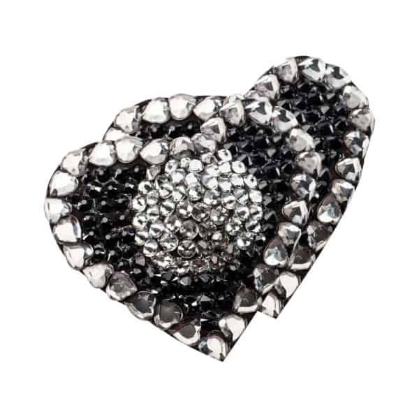 Nippies strass cœur d'onyx noir et argent par Ruth Melbourne chez Brigade Mondaine