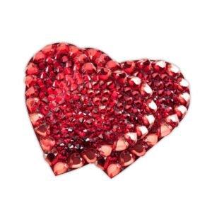 Nippies strass Coeur de rubis coeur rouge par Ruth Melbourne chez Brigade Mondaine