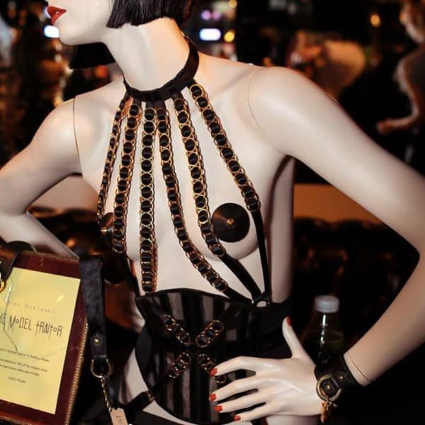 Simone black choker strapless harness with elastic bands and adjustable gold rings by The Model Traitor at Brigade Mondaine