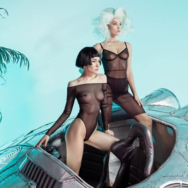 Black transparent mesh bodysuit with long sleeves and open collar and shoulders ZHILYOVA at Brigade Mondaine