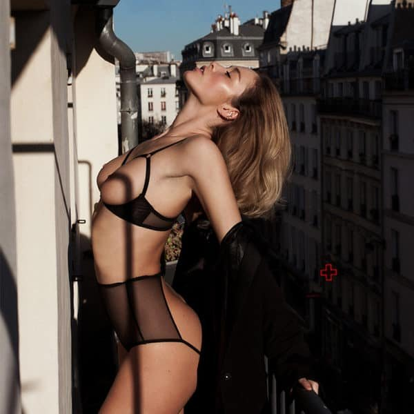 Black transparent mesh open lingerie set ZHILYOVA at Brigade Mondaine