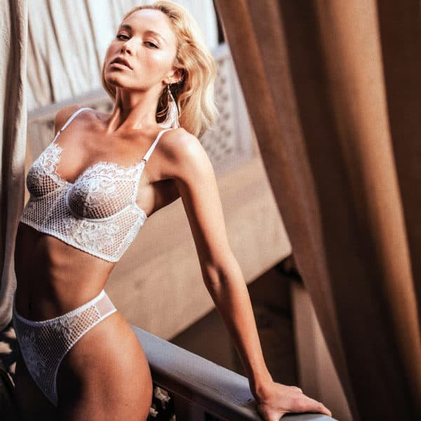 White lace lingerie set with high waist thong and strapless bra ZHILYOVA at Brigade Mondaine