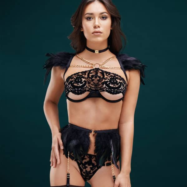 Black angel roleplay costume with black feather g-string and black feather suspender belt and half-open bra with velvet lace BAED STORIES at Brigade Mondaine